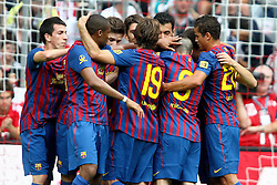 26.07.2011, Allianz Arena, Muenchen, GER, Audi Cup 2011,  FC Barcelona vs SC Internacional de Porto Alegre, im Bild Jubel um den Torschuetzen zum 1-0 Thiago (Barcelona #4)  // during the Audi Cup 2011,  FC Barcelona vs SC Internacional de Porto Alegre , on 2011/07/26, Allianz Arena, Munich, Germany, EXPA Pictures © 2011, PhotoCredit: EXPA/ nph/  Straubmeier       ****** out of GER / CRO  / BEL ******