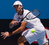 Ivo Karlovic (CRO)<br /> 2010 Australian Open Tennis<br /> Mens Singles<br /> First Round<br /> 18/01/10<br /> Ivo Karlovic of Croatia scrambles for a forhand return in his first round clash against Radek Stepanek of the Czech Republic<br /> &quot;Court 6&quot; Melbourne Park, Melbourne, Victoria, Australia<br /> Photo By Lucas Wroe