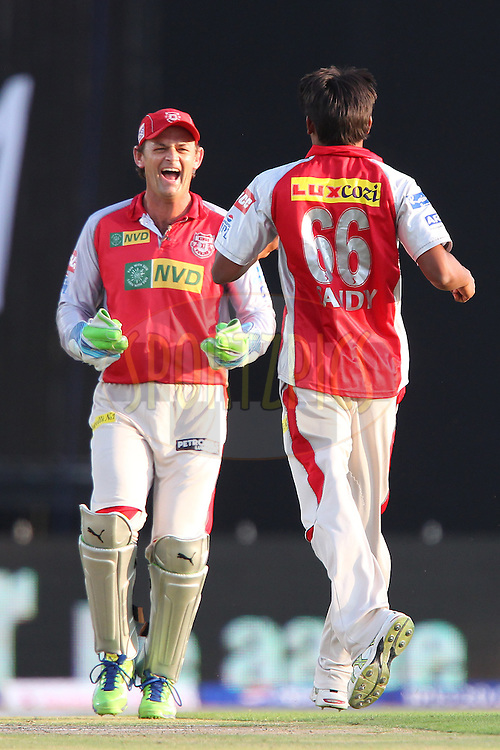 Adam Gilchrist and Sandeep Sharma celebrate the wicket of Aditya Tare during match 69 of the Pepsi Indian Premier League between The Kings XI Punjab and the Mumbai Indians held at the HPCA Stadium in Dharamsala, Himachal Pradesh, India on the on the 18th May 2013..Photo by Ron Gaunt-IPL-SPORTZPICS ..Use of this image is subject to the terms and conditions as outlined by the BCCI. These terms can be found by following this link:..http://www.sportzpics.co.za/image/I0000SoRagM2cIEc