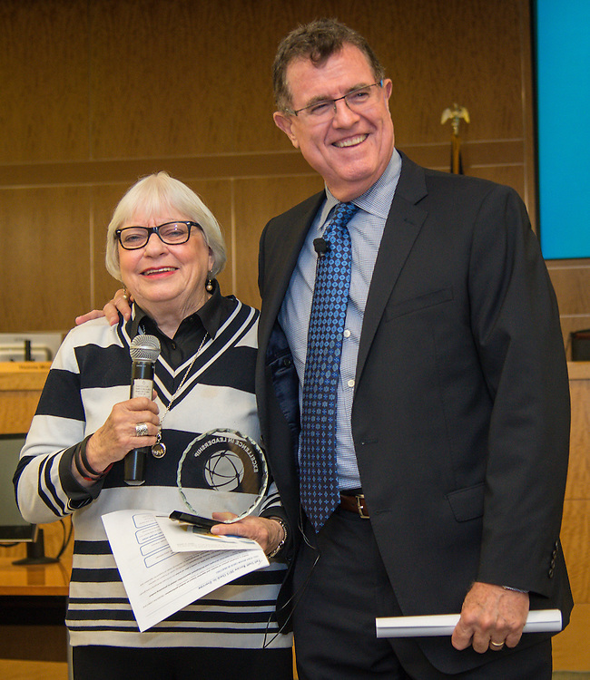 Houston ISD superintendent Dr. Terry Grier presents the Excellence in Leadership Award to Furr High School principal Dr. Bertie Simmons during the Professional Learning Series, November 4, 2015.
