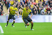 Watford's Troy Deeney celebrates his equaliser, 1-1 during the The FA Cup match between Crystal Palace and Watford at Wembley Stadium, London, England on 24 April 2016. Photo by Shane Healey.