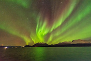 The Northern Lights exhibiting the classic red colour in the upper curtains in addition from the main green lower curtains, with both colours from oxygen.<br /> <br /> Taken from the Hurigruten ship the m/s Nordlys north of Troms&oslash; on October 24, 2017. <br /> <br /> This is a single 2-second exposure with the Sigma 14mm Art lens at f/1.8 and Nikon D750 at ISO 6400. Taken as part of a time-lapse sequence.
