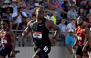Jul 26, 2019; Des Moines, IA, USA; Christian Coleman wins 100m semifinal in 9.96 during the USATF Championships at Drake Stadium.