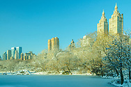 NYC, NY, Central Park, The Lake, Central Park West, Park designed by Frederick Law Olmsted and Calvert Vaux, Winter