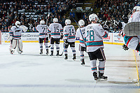 KELOWNA, CANADA - MARCH 25: The Kelowna Rockets celebrate a goal against the Kamloops Blazers on March 25, 2016 at Prospera Place in Kelowna, British Columbia, Canada.  (Photo by Marissa Baecker/Shoot the Breeze)  *** Local Caption *** Goal;