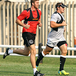 DURBAN, SOUTH AFRICA - SEPTEMBER 12: Stephan Lewies with Jean Deysel during the Cell C Sharks XV training session at Growthpoint Kings Park on September 12, 2016 in Durban, South Africa. (Photo by Steve Haag/Gallo Images)