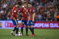 October 6, 2017 - Alicante, Spain - Marcos Asensio (Real Madrid), Thiago Alcantara (Bayern Munchen) and Koke (Atletico) during the qualifying match for the World Cup Russia 2018 between Spain and Albaniaat the Jose Rico Perez stadium in Alicante, Spain on October 6, 2017. (Credit Image: © Jose Breton/NurPhoto via ZUMA Press)