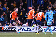Andy Drury of Luton Town (2nd left) celebrates scoring the opening goal against Cambridge United during the Sky Bet League 2 match at Kenilworth Road, Luton<br /> Picture by David Horn/Focus Images Ltd +44 7545 970036<br /> 31/01/2015