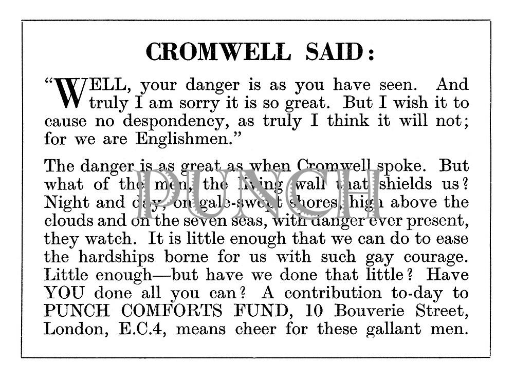 "Punch Comforts Fund ad: Cromwell said: ""Well, your danger is as you have seen...."""