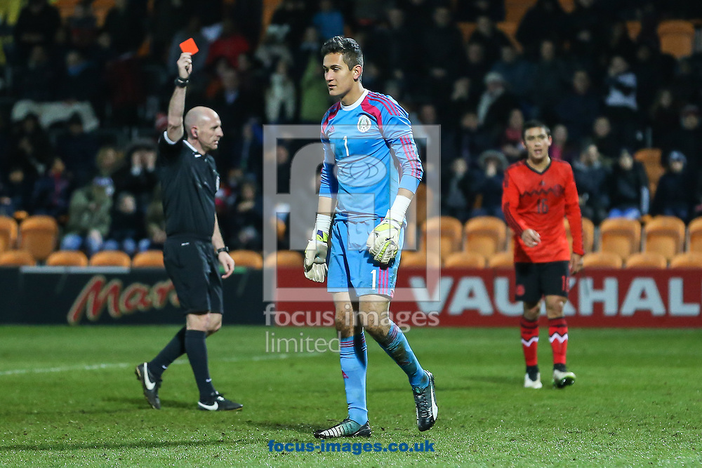 Raul Manola Gudino of Mexico U20 (centre) is sent off after conceeding a penalty during the International Friendly match at The Hive Stadium, Harrow<br /> Picture by David Horn/Focus Images Ltd +44 7545 970036<br /> 25/03/2015