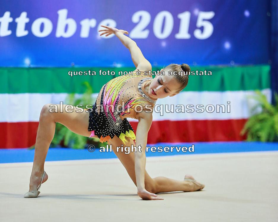 Gaia Garoffolo  atleta della società Eurogymnica di Torino durante la seconda prova del Campionato Italiano di Ginnastica Ritmica.<br /> La gara si è svolta a Desio il 31 ottobre 2015.