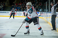 KELOWNA, CANADA - DECEMBER 30: Tyrell Goulbourne #12 of Kelowna Rockets skates with the puck against the Prince George Cougars on December 30, 2014 at Prospera Place in Kelowna, British Columbia, Canada.  (Photo by Marissa Baecker/Shoot the Breeze)  *** Local Caption *** Tyrell Goulbourne;