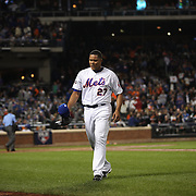 NEW YORK, NEW YORK - October 5: Pitcher Jeurys Familia #27 of the New York Mets returns to the dugout after giving up a three run home run in the top of the ninth  during the San Francisco Giants Vs New York Mets National League Wild Card game at Citi Field on October 5, 2016 in New York City. (Photo by Tim Clayton/Corbis via Getty Images)