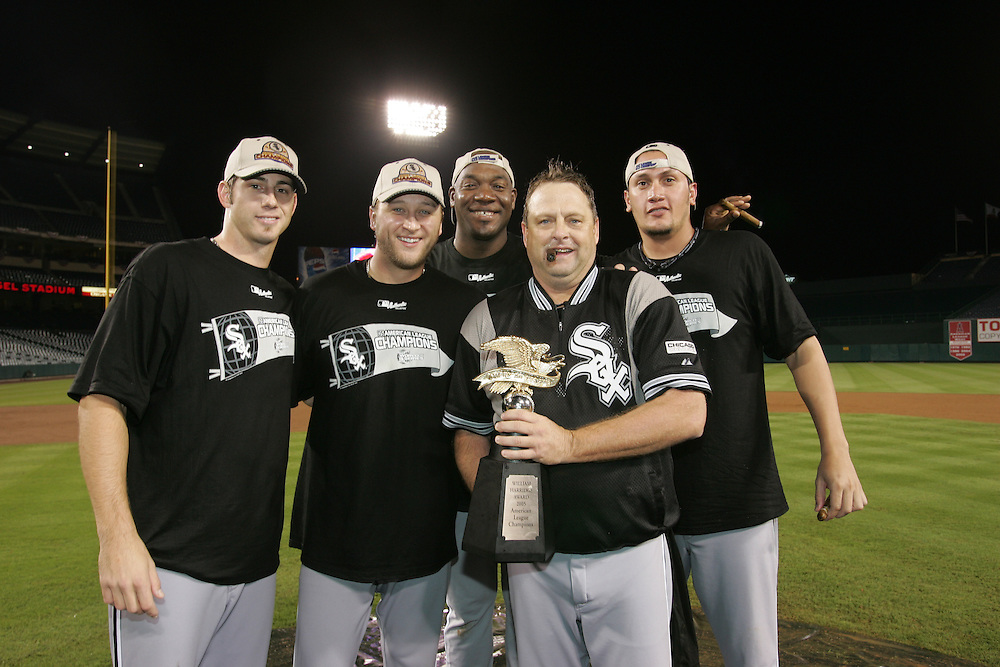 CHICAGO - OCTOBER 16:  Chicago White Sox pitchers (L to R) John Garland, Mark Buehrle, Jose Contreras, Pitching Coach Don Cooper and Freddy Garcia celebrate after winning Game 5 of the American League Championship Series against the Los Angeles Angels of Anaheim at Angels Stadium on October 16, 2005 in Anaheim, California.  These four starting pitchers all threw complete game wins in the ALCS, becoming the first pitching staff to do this since the 1950's.  The White Sox defeated the Angels 6-3 to become American League Champions and advance to the World Series for the first time since 1959.