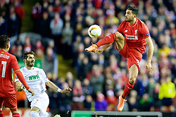 LIVERPOOL, ENGLAND - Thursday, February 25, 2016: Liverpool's Emre Can in action against FC Augsburg during the UEFA Europa League Round of 32 1st Leg match at Anfield. (Pic by David Rawcliffe/Propaganda)