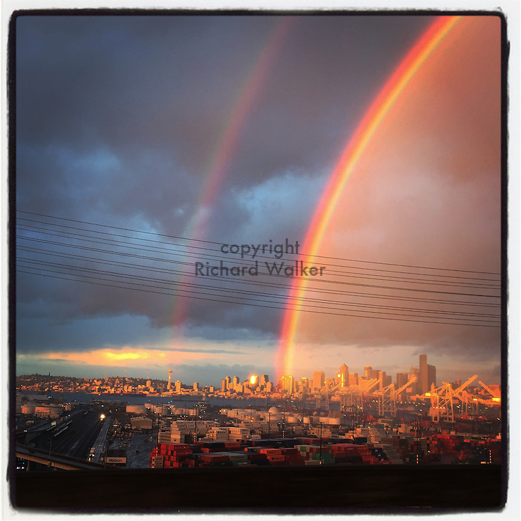 2016 November 30 - Double rainbow over downtown Seattle, WA, USA. Taken/edited with Instagram App for iPhone. By Richard Walker