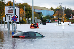 South Yorkshire flooding. Ickles Roundabout Rotherham. Specialist rescue teams from the West Midlands Fire service rescue peopl from vehicles and business premises along the A6178 Sheffield Rd<br /> <br />  Copyright Paul David Drabble<br />  07 November 2019<br />  www.pauldaviddrabble.co.uk