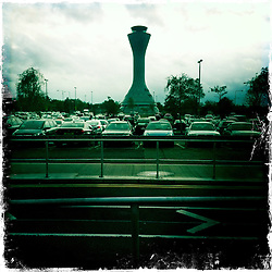 Control tower, Edinburgh Airport..Hipstamatic images taken on an Apple iPhone..©Michael Schofield.