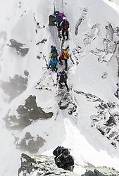 THEMENBILD - Bergsteiger mehrer Seilschaften bei der Glocknerscharte und am Kleinglockner. Das Glocknerschartl ist das Nadelöhr am Normalweg, wo sich immer wieder ein Stau bilden kann. Der Großglockner ist mit 3798 m ü.A. der höchste Berg Österreichs und ein beliebtes Ziel zahlreicher Bergsteiger. Er ist in der Glocknergruppe in den Hohen Tauern. Aufgenommen am 11.10.2014 in Tirol, Österreich // Mountaineers on Kleinglockner. and Glockner Notch. Grossglockner is the highest mountain of austria and is located in the Hohe Tauern mountain range which is part of the  central eastern alps. Tyrol, Austria on 2014/10/11. EXPA Pictures © 2014, PhotoCredit: EXPA/ Michael Gruber