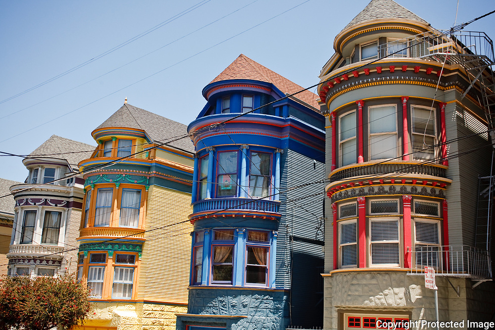 Painted Victorian Houses in San Francisco's Haight Ashbury Neighborhood