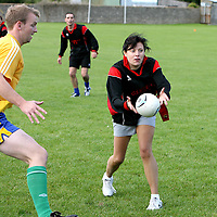 Caoidha Coughlan,Ennis taking part in the Tag Rugby at the  Clare Shout Festival,Kilkishen last weekend.<br /><br />Photograph by Eamon Ward