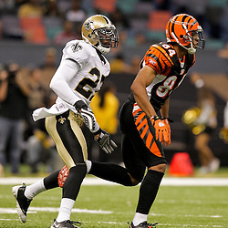 2009 August 14: New Orleans Saints rookie cornerback Malcolm Jenkins (27) cover Cincinnati Bengals wide receiver Freddie Brown (84) during 17-7 win by the New Orleans Saints over the Cincinnati Bengals in their preseason opener at the Louisiana Superdome in New Orleans, Louisiana.