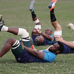 DURBAN, SOUTH AFRICA - AUGUST 13: Siya Kolisi (c) during the South African national rugby team training session at  Jonsson Kings Park on August 13, 2018 in Durban, South Africa. (Photo by Steve Haag/Gallo Images)