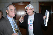 SIMON HOGG AND JONATHAN KING, Book launch for 'the Anti-social Behaviour of Horace Rumpole' by John Mortimer and 'A Voyage Round John Mortimer' by Valerie Grove. -DO NOT ARCHIVE-© Copyright Photograph by Dafydd Jones. 248 Clapham Rd. London SW9 0PZ. Tel 0207 820 0771. www.dafjones.com.