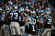 January 3, 2016: Carolina Panthers vs Tampa Bay Buccaneers. Newton, Cam leads the huddle for the Panthers