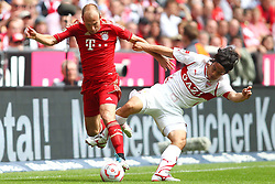 14.05.2011, Allianz Arena, Muenchen, GER, 1.FBL, FC Bayern Muenchen vs VfB Stuttgart, im Bild Arjen Robben (Bayern #10) im Kampf mit Shinji Okazaki (Stuttgart #31)  , EXPA Pictures © 2011, PhotoCredit: EXPA/ nph/  Straubmeier       ****** out of GER / SWE / CRO  / BEL ******