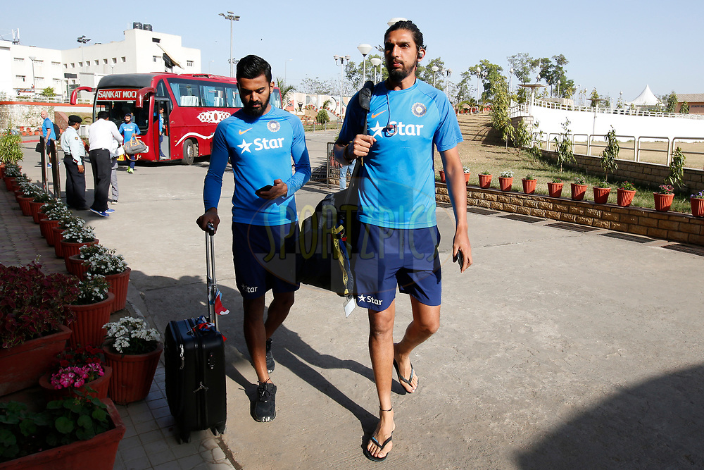 Ishant Sharma of India and K Lokesh Rahul of India arrives at stadium during day three of the third test match between India and Australia held at the JSCA International Stadium Complex in Ranchi on the 18th March 2017. <br /> <br /> Photo by: Deepak Malik / BCCI/ SPORTZPICS