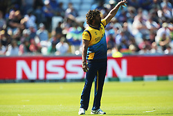June 28, 2019 - Chester Le Street, County Durham, United Kingdom - Sri Lanka's Lasith Malinga positions his fielders during the ICC Cricket World Cup 2019 match between Sri Lanka and South Africa at Emirates Riverside, Chester le Street on Friday 28th June 2019. (Credit Image: © Mi News/NurPhoto via ZUMA Press)