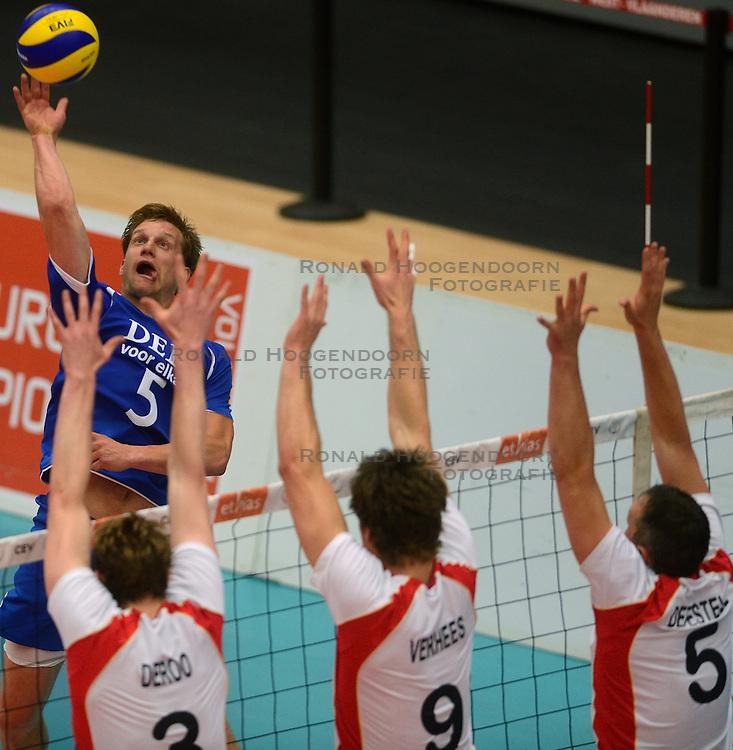 17-05-2013 VOLLEYBAL: BELGIE - NEDERLAND: KORTRIJK<br /> Nederland wint de eerste oefenwedstrijd met 3-0 van Belgie / Jelte Maan<br /> &copy;2013-FotoHoogendoorn.nl