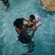 Leonardo Gabriel, Soraia's son, during hidro-terapy at AACD in Recife