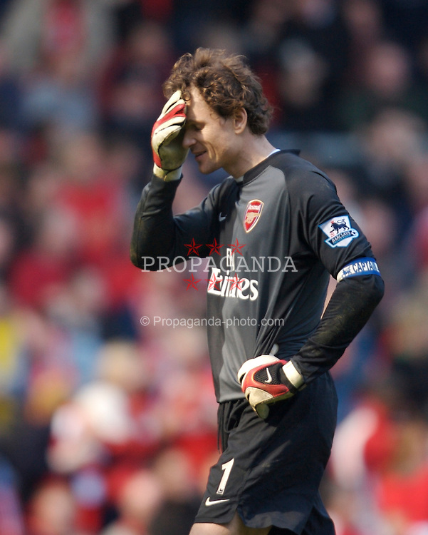 Liverpool, England - Saturday, March 3, 2007:  Arsenal's goalkeeper Jens Lehmann looks dejected after Liverpool's Daniel Agger scores the third goal during the Premiership match at Anfield. (Pic by David Rawcliffe/Propaganda)