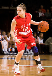 St. Francis (PA) guard Sarah Thorn (12) in action against UVA.  The #15 ranked Virginia Cavaliers defeated the St. Francis (Pa.) Red Flash 82-66 in NCAA Women's Basketball at the John Paul Jones Arena on the Grounds of the University of Virginia in Charlottesville, VA on January 5, 2009.