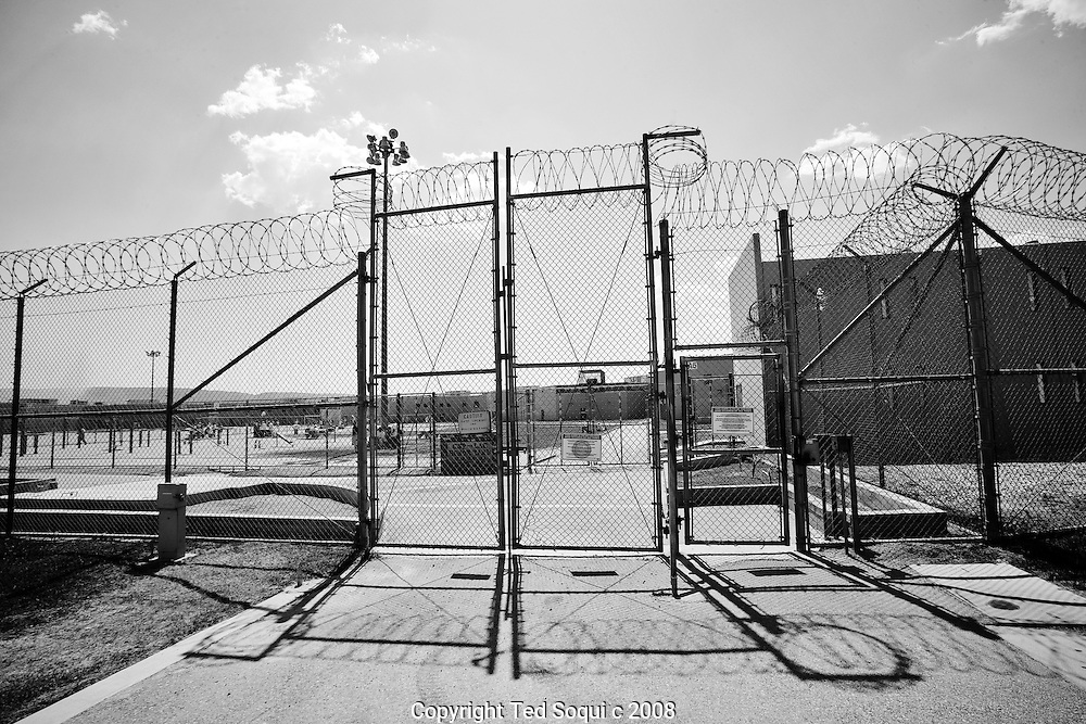 Gates that lead to the honor yard..California State Prison, Los Angeles County.