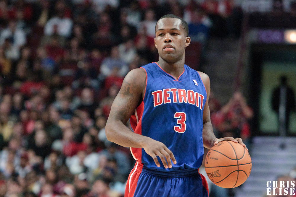30 October 2010: Detroit Pistons Rodney Stuckey brings the ball upcourt during the Chicago Bulls 101-91 victory over the Detroit Pistons at the United Center, in Chicago, Illinois, USA.