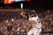 San Francisco Giants shortstop Brandon Crawford (35) makes contact with a pitch against the Colorado Rockies at AT&T Park in San Francisco, Calif., on September 27, 2016. (Stan Olszewski/Special to S.F. Examiner)