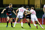 Ospreys wing Dan Evans attempts to break through the Stade Francais defence during the European Challenge Cup match between Ospreys and Stade Francais at Principality Stadium, Cardiff, Wales on 2 April 2017. Photo by Andrew Lewis.