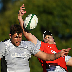DURBAN, SOUTH AFRICA, 23 August, 2016 - Ruan Botha with Etienne Oosthuizen during The Cell C Sharks Currie Cup training session at Growthpoint Kings Park in Durban, South Africa. (Photo by Steve Haag)<br /> <br /> images for social media must have consent from Steve Haag