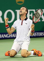 SHANGHAI, Oct. 15, 2016  Spain's Roberto Bautista celebrates after the men's singles semifinal against Novak Djokovic of Serbia at the Shanghai Masters tennis tournament in Shanghai, east China, Oct. 15, 2016. Roberto Bautista won 2-0.  wll) (Credit Image: © Fan Jun/Xinhua via ZUMA Wire)