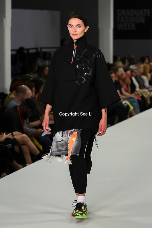 Designer Matilda Lines showcases lastest collection of Bath Spa University at the Graduate Fashion Week 2018, 4 June 4 2018 at Truman Brewery, London, UK.