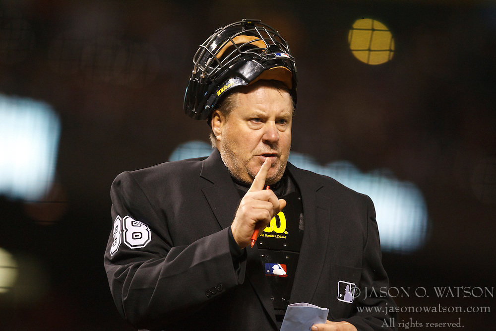 September 14, 2010; San Francisco, CA, USA;  Home plate umpire Gary Cederstrom (38) during the ninth inning of the game between the San Francisco Giants and the Los Angeles Dodgers at AT&T Park. Los Angeles defeated San Francisco 1-0.