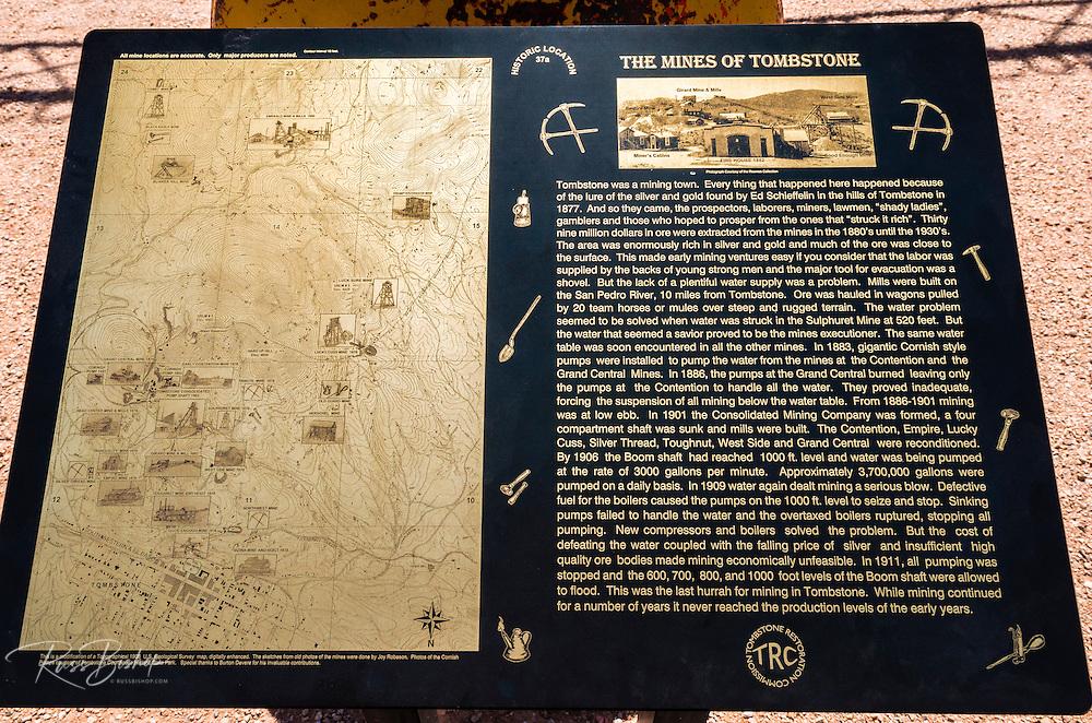 Interpretive plaque at the Tombstone Mines, Tombstone, Arizona USA