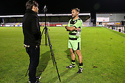 Forest Green Rovers assistant manager, Scott Lindsey being interviewed after the match during the Friendly match between Weston Super Mare and Forest Green Rovers at the Woodspring Stadium, Weston Super Mare, United Kingdom on 11 October 2016. Photo by Shane Healey.