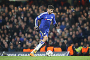 Chelsea striker Diego Costa (19) dribbling during the Champions League match between Chelsea and Paris Saint-Germain at Stamford Bridge, London, England on 9 March 2016. Photo by Matthew Redman.
