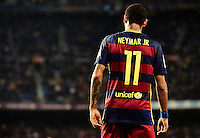 BARCELONA, SPAIN - OCTOBER 25: (EDITORS NOTE: This image has been processed using digitals filters.)  Neymar JR of Barcelona is seen during the La Liga match between FC Barcelona and SD Eibar at Camp Nou Stadium on October 25, 2015 in Barcelona, Spain.  (Photo by Manuel Queimadelos Alonso/Getty Images)