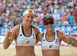 05.08.2011, Klagenfurt, Strandbad, AUT, Beachvolleyball World Tour Grand Slam 2011, im Bild Stefanie und Doris Schweiger AUT, EXPA Pictures © 2011, PhotoCredit EXPA Gert Steinthaler