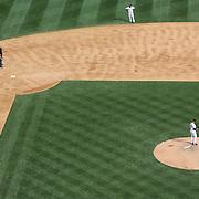 Victor Martinez, Detroit Tigers, rounds the bases after hitting a home run off Mariano Rivera, New York Yankees, during the New York Yankees V Detroit Tigers Major League Baseball regular season baseball game at Yankee Stadium, The Bronx, New York. 11th August 2013. Photo Tim Clayton